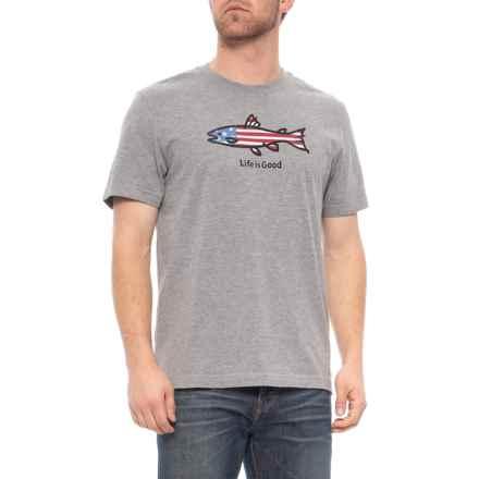 63ff7c6b72 Life is good® Crusher American Fish T-Shirt - Short Sleeve (For Men