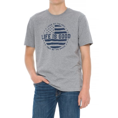 Life is good® Crusher Land of the Free Shirt - Short Sleeve (For Men) in Heather Gray