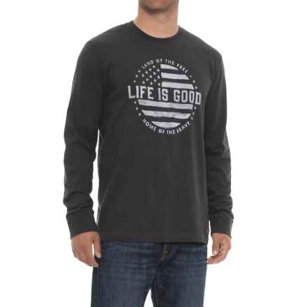 Life is good® Crusher Land of the Free T-Shirt - Long Sleeve (For Men) in Bk001 Night Black - Closeouts