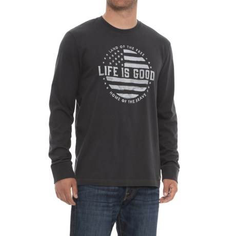 Life is good® Crusher Land of the Free T-Shirt - Long Sleeve (For Men) in Bk001 Night Black