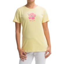 Life is good® Crusher T-Shirt - Short Sleeve (For Women) in Lemony Yellow Hibiscus Script - Closeouts