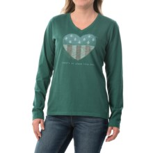 Life is good® Crusher V-Neck T-Shirt - Long Sleeve (For Women) in Heather Green Heart Tree Flag - Closeouts