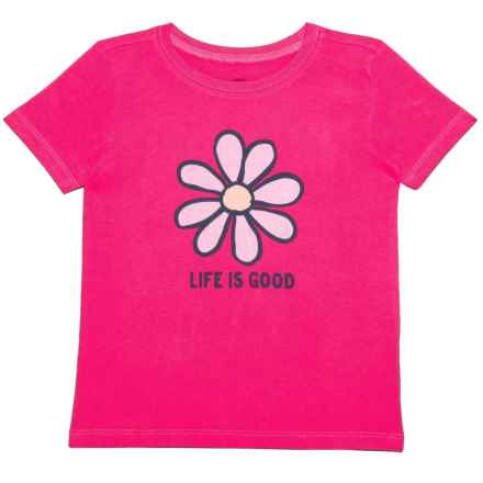 Life is good® Daisy Crusher T-Shirt - Short Sleeve (For Toddlers) in Pop Pink - Closeouts