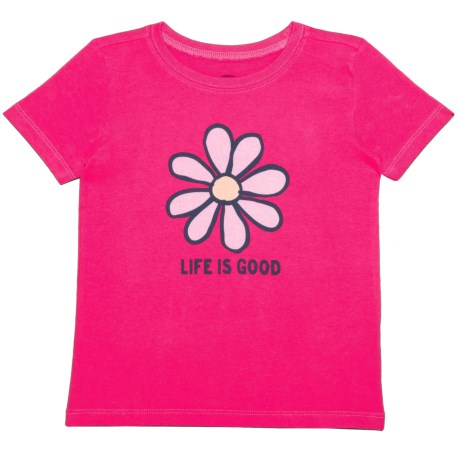 Life is good® Daisy Crusher T-Shirt - Short Sleeve (For Toddlers) in Pop Pink