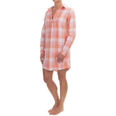 Life is good® Double-Faced Woven Nightshirt - V-Neck, Long Sleeve (For Women) in Tawny Peach Buffalo Plaid - Closeouts