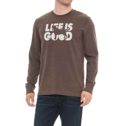 Life is good® Fetch Crusher T-Shirt - Long Sleeve (For Men) in Heather Rich Brown - Closeouts