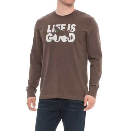 Life is good® Fetch Crusher T-Shirt - Long Sleeve (For Men) in Heather Rich Brown