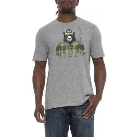 Life is good® Fisher Bear Smooth T-Shirt - Short Sleeve (For Men) in Heather Gray - Closeouts
