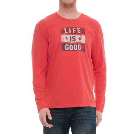 Life is good® Flag LIG Crusher T-Shirt - Long Sleeve (For Men) in Americana Red - Closeouts