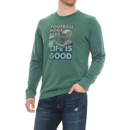 Life is good® Football Dogs Beer Crusher Shirt - Long Sleeve (For Men) in Heather Forest Green - Closeouts