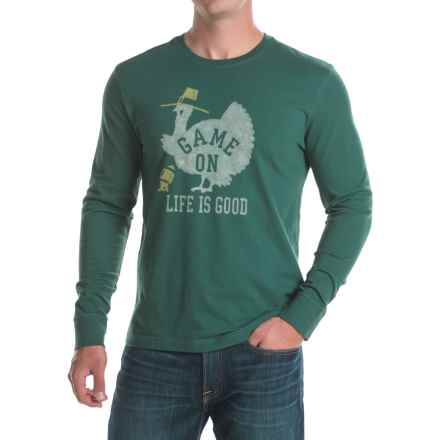 Life is good® Game On Turkey Crusher T-Shirt - Crew Neck, Long Sleeve (For Men) in Balsam Green - Closeouts