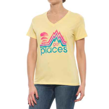 Life is good® Go Places V-Neck T-Shirt - Short Sleeve (For Women) in Mellow Yellow - Closeouts