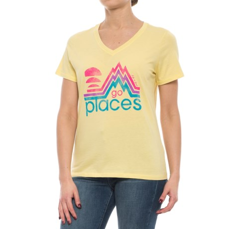 Life is good® Go Places V-Neck T-Shirt - Short Sleeve (For Women) in Mellow Yellow
