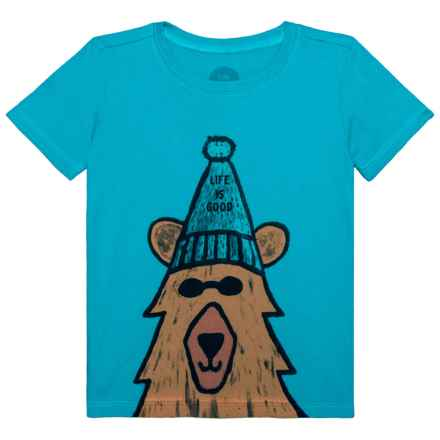 Life is good® Happy Bear Crusher T-Shirt - Short Sleeve (For Toddlers) in Cool Turquoise - Closeouts