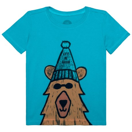 Life is good® Happy Bear Crusher T-Shirt - Short Sleeve (For Toddlers) in Cool Turquoise
