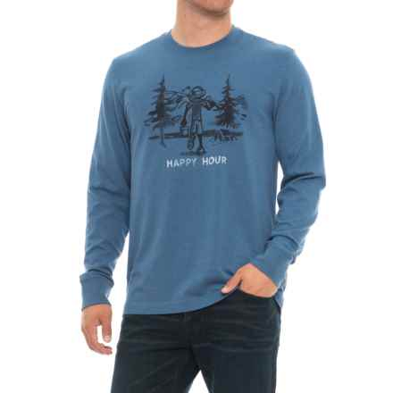 Life is good® Happy Hour Fish Crusher T-Shirt - Long Sleeve (For Men) in Heather Vintage Blue - Closeouts