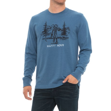 Life is good® Happy Hour Fish Crusher T-Shirt - Long Sleeve (For Men) in Heather Vintage Blue
