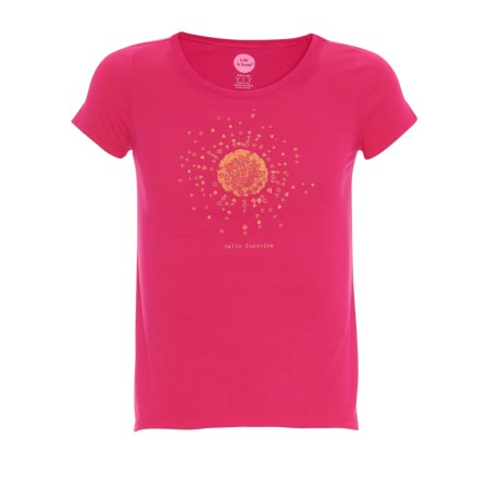Life is good® Hello Sun Tiny Hearts Swing T-Shirt - Scoop Neck, Short Sleeve (For Girls) in Pop Pink