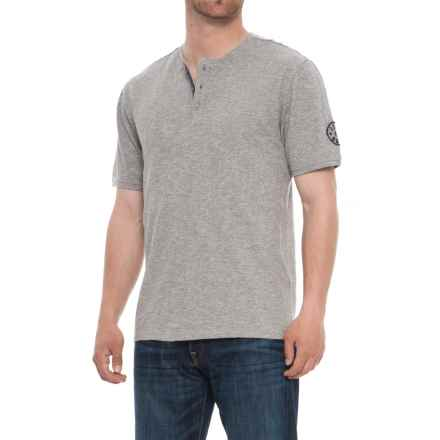 Life is good® Henley Lig Patch Shirt - Short Sleeve (For Men) in Heather Grey - Closeouts