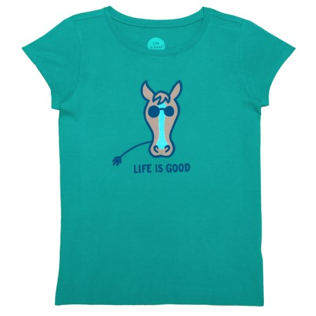 Life is good® Horse Crusher T-Shirt - Short Sleeve (For Little and Big Girls) in Bright Teal