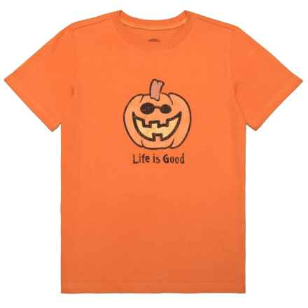 Life is good® Jack O'Lantern Crusher T-Shirt - Short Sleeve (For Little and Big Boys) in Deep Orange - Closeouts