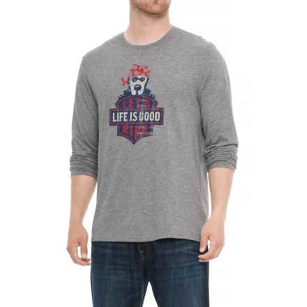 Life is good® Let's Ride Badge Smooth T-Shirt - Long Sleeve (For Men) in Heather Gray - Closeouts