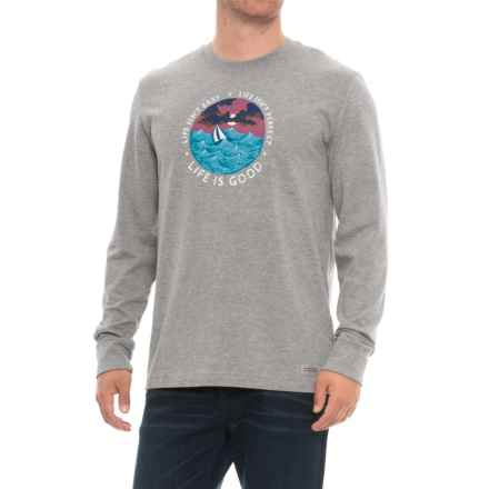 Life is good® Life Isn't Easy Crusher T-Shirt - Long Sleeve (For Men) in Heather Gray - Closeouts