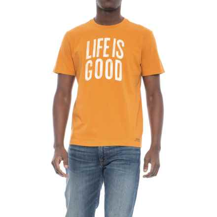 Life is good® Lig Stacked Arch Crusher T-Shirt - Short Sleeve (For Men) in Artisan Gold - Closeouts