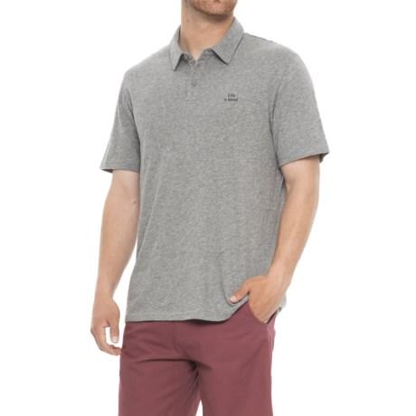 Life is good® LIG Wordmark Polo Shirt - Short Sleeve (For Men) in Heather Gray