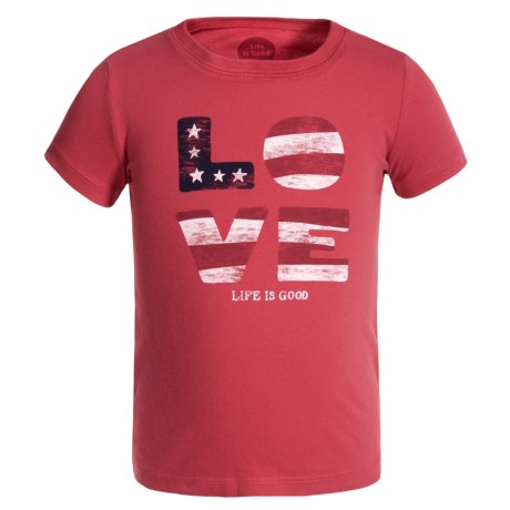 Life is good® Love Flag Crusher T-Shirt - Short Sleeve (For Toddlers) in Americana Red