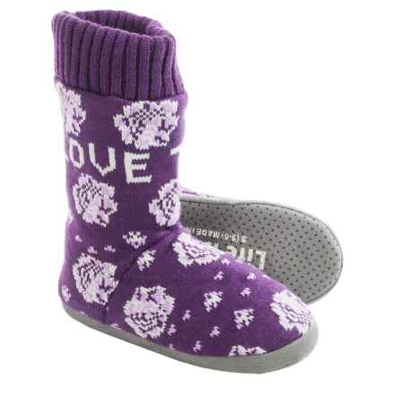 Life is good® Love Today Floral Slipper Socks (For Women) in Smoky Plum - Closeouts