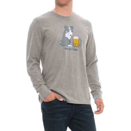 Life is good® Man's Best Friend Crusher T-Shirt - Long Sleeve (For Men) in Heather Gray - Closeouts
