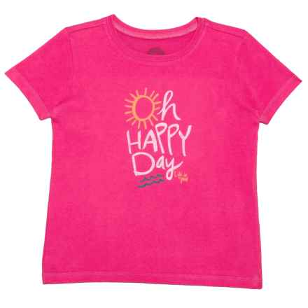 Life is good® Oh Happy Day Crusher T-Shirt - Short Sleeve (For Toddlers) in Pop Pink - Closeouts