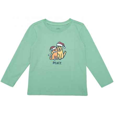 Life is good® Peace Cat Dog Crusher T-Shirt - Long Sleeve (For Toddlers) in Minty Green - Closeouts