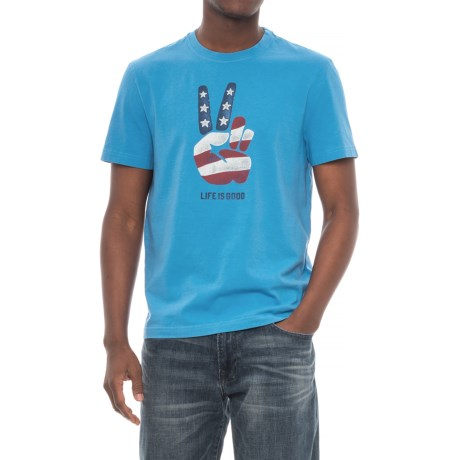 Life is good® Peace Flag Crusher T-Shirt - Short Sleeve (For Men) in Marina Blue