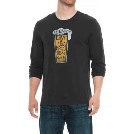 Life is good® Peace Love Hoppiness Smooth T-Shirt - Long Sleeve (For Men) in Night Black - Closeouts