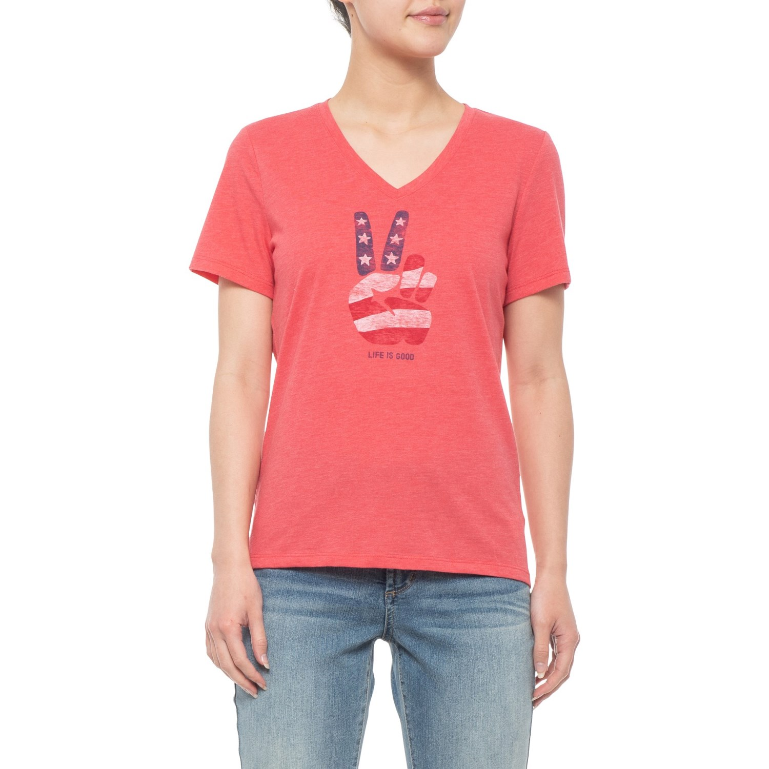 4948d630f88a8 Life is good® Peace Stars and Stripes Classic T-Shirt - V-Neck, Short  Sleeve (For Women)