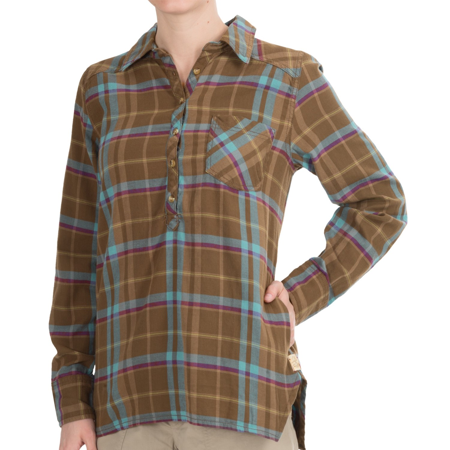 life is good plaid popover shirt cotton long sleeve