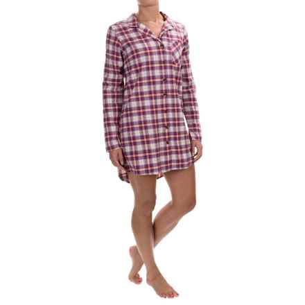 Life is good® Plaid Woven Sleep Shirt - Long Sleeve (For Women) in Simply Ivory Sleep - Closeouts