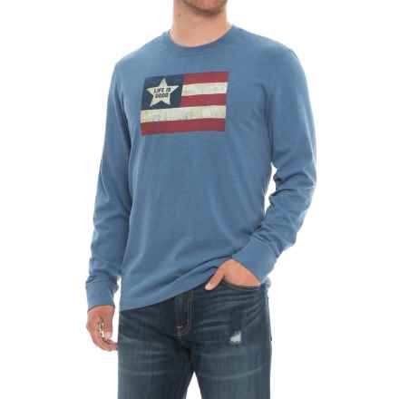 Life is good® Red White Good Crusher T-Shirt - Long Sleeve (For Men) in Heather Vintage Blue - Closeouts