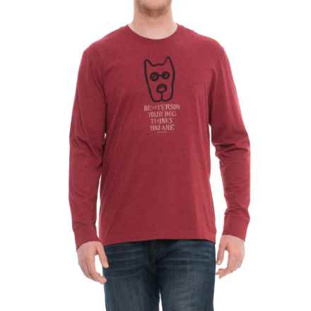 Life is good® Rocket Message Crusher T-Shirt - Long Sleeve (For Men) in Heather Cranberry Red - Closeouts