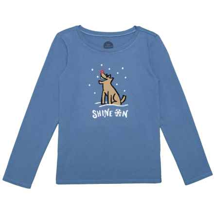 Life is good® Shine On Rocket Crusher T-Shirt - Long Sleeve (For Little and Big Girls) in Vintage Blue - Closeouts