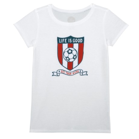 Life is good® Soccer Shield Crusher T-Shirt - Short Sleeve (For Little and Big Girls) in Cloud White