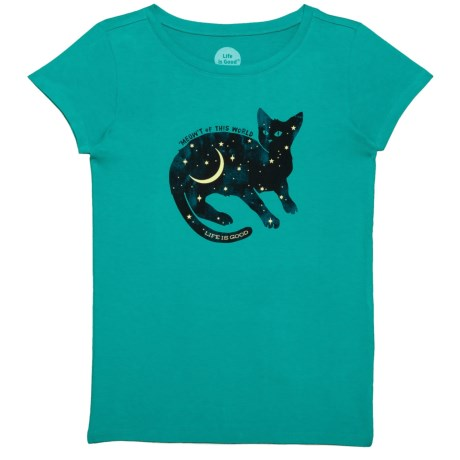Life is good® Space Cat Crusher T-Shirt - Short Sleeve (For Little and Big Girls) in Bright Teal