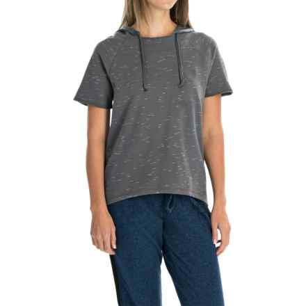 Life is good® Space-Dye Terry Hoodie - Short Sleeve (For Women) in Slate Grey Palm Heart Lig - Closeouts
