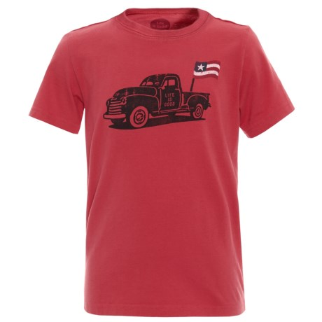 Life is good® Truck Flag Crusher T-Shirt - Short Sleeve (For Boys) in Americana Red