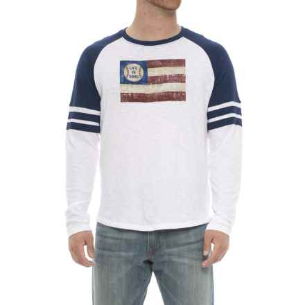 Life is good® Vintage Sport Baseball Flag T-Shirt - Long Sleeve (For Men) in Cloud White - Closeouts
