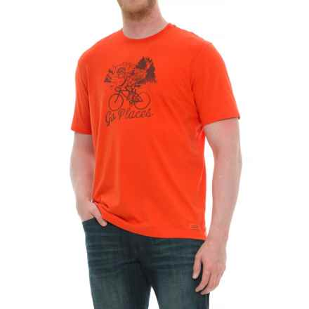 Life is good® Watercolor Go Places Bike Crusher T-Shirt - Short Sleeve (For Men) in Flame Orange - Closeouts