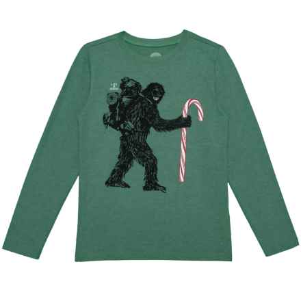 Life is good® Wild Man Candy Cane Crusher T-Shirt - Long Sleeve (For Little and Big Boys) in Heather Forest Green - Closeouts