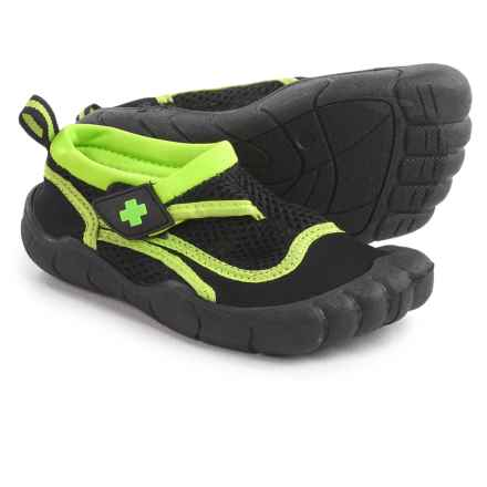 Lifeguard Water Shoes - Waterproof (For Little and Big Boys) in Black/Lime - Closeouts